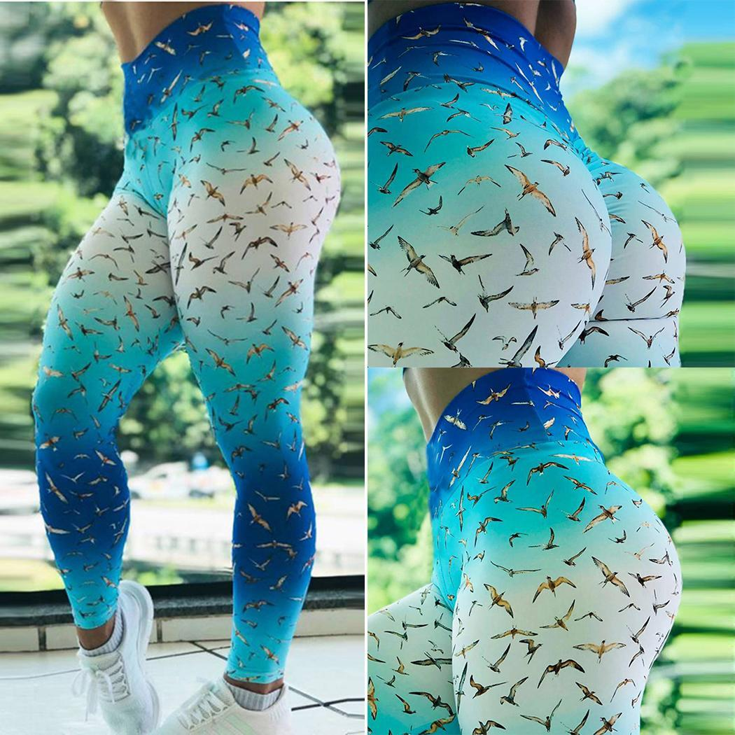 Women Yoga Fitness Running Gym Stretch Sports Blue white Bird All seasons Prints Casual Trousers Leggings