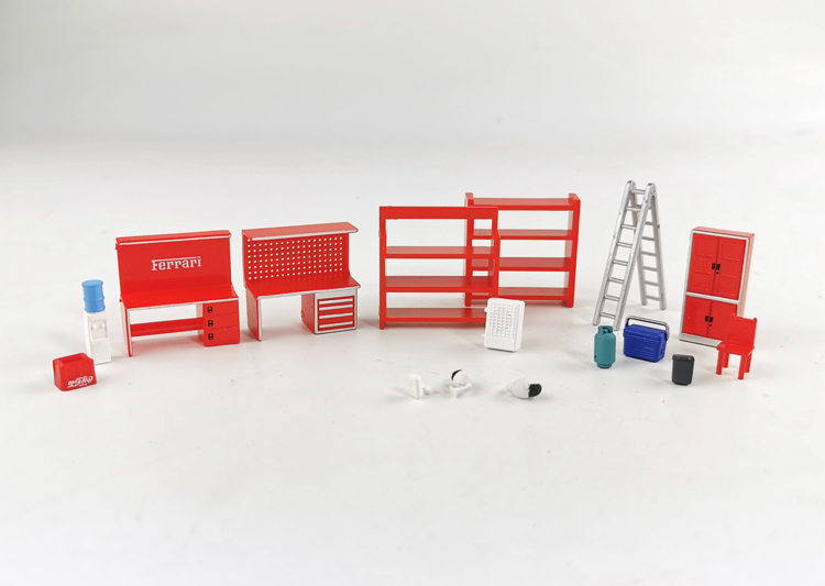1/64 Model Scene Set Shelf Table Chair Ladder Water  Garage Auto Repair Maintenance Tool