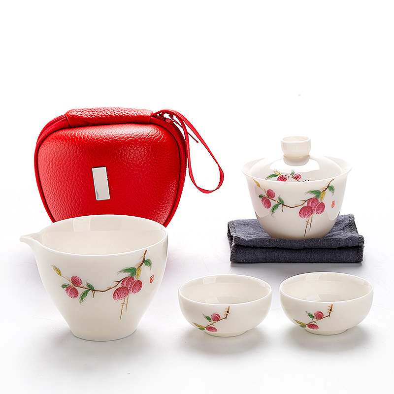 Дорожная сумка китайский чайный набор кунг фу gaiwan Чайник чашки ярмарка кружка Чайные Наборы белая керамика для подарка Пуэр посуда для напитков Наборы чайной посуды      АлиЭкспресс