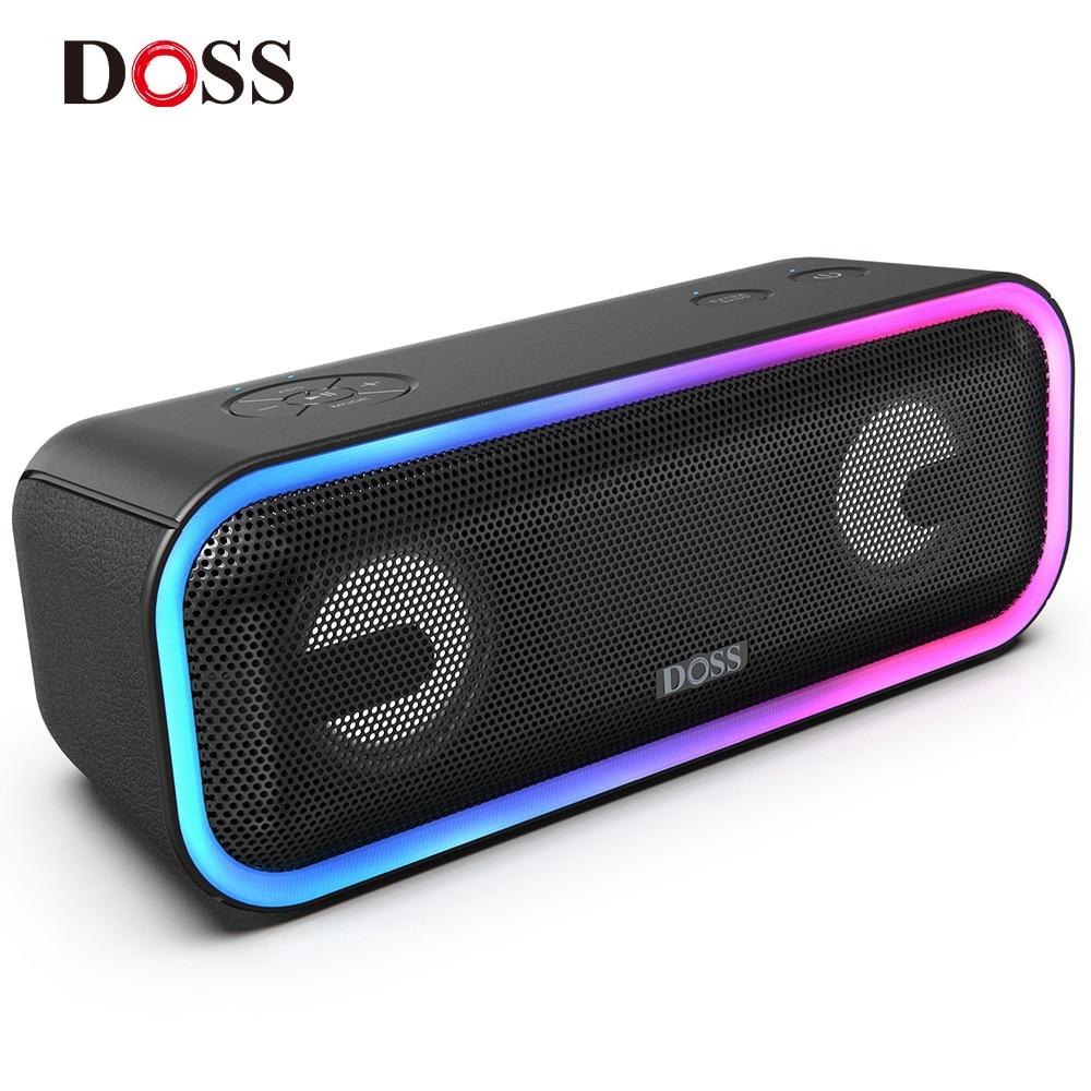 DOSS SoundBox Pro + TWS Беспроводная bluetooth-колонка, 24 Вт, потрясающий звук с глубокими басами, разноцветные огни, настоящий стереозвук