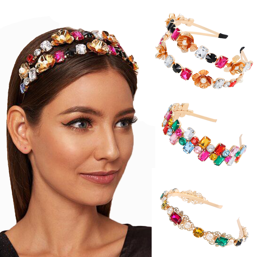 Fashion Pure Metal Thin Rim Hairband Colorful Rhinestones Headband Crystal Hair Accessories For Women Party Girls Gift Hair Hoop