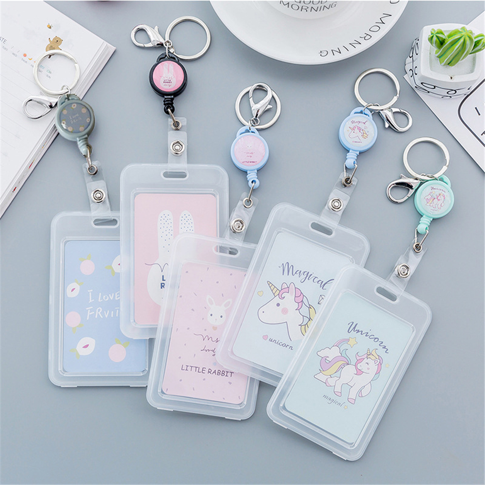 1Pcs Cute Transparent Plastic Cartoon Card Set Unicorn Card Set Key Chain Elastic Rope Bus Card Rice Card Holder