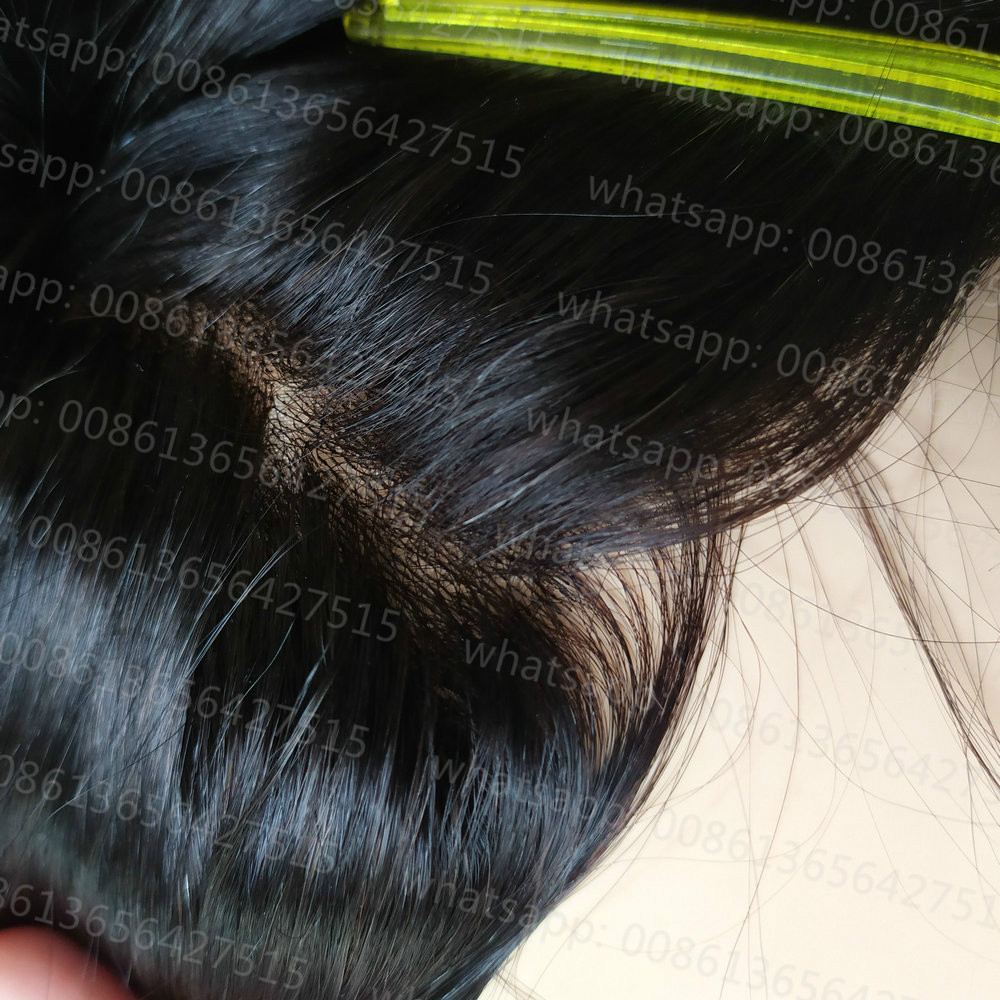 Hstonir Remy Human Mens Toupee Mono Lace Front Thin Skin Wig Sistem Hair Skins Hair Replacement Tesoura Cortar Cabelo H005