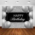 Серебряный фон для фотосъемки на день рождения, воздушные шары, блестящие серебряные вечерние украшения для взрослых, баннерный фон, Фотофо...