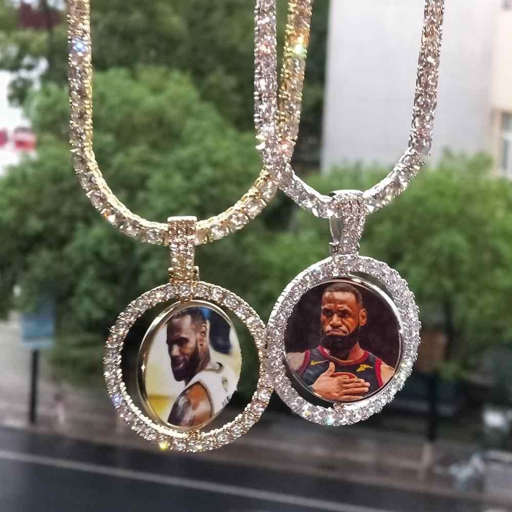 Hip Hop wykonane na zamówienie zdjęcie okrągły obracanie dwustronna Iced Out Bling Cubic naszyjnik cyrkoniowy i wisiorek dla mężczyzn biżuteria tenis łańcuch