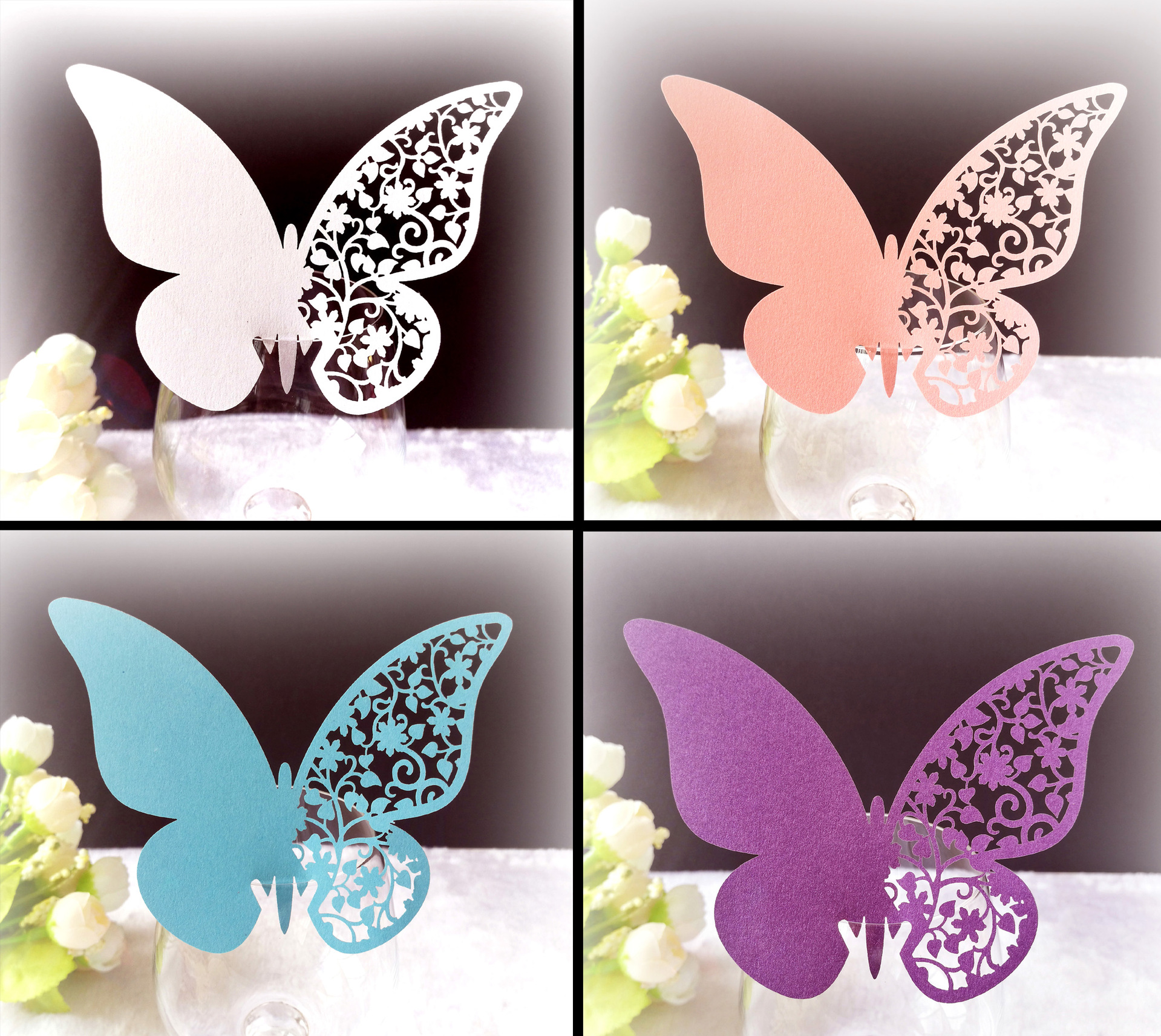 25pcs Butterfly Heart Laser Cut Table Mark Wine Glass Name Place Cards  Wedding Birthday Baby Shower Christmas Supplies| | - AliExpress