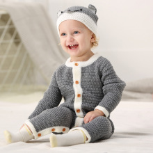 цена на Baby Boy Romper Knitted Newborn Baby Clothes Romper With Hat Infant Toddler Jumpsuit For Kids Cotton Toddler Boys Jumpsuit