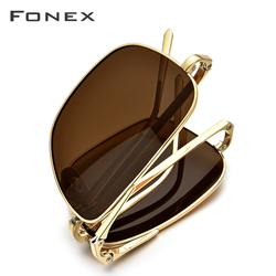FONEX Pure Titanium Polarized Sunglasses Men Folding Classic Square Sun Glasses for Men 2019 New High Quality Male Shades 839