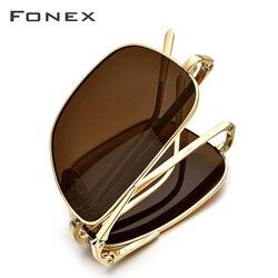FONEX Reinem Titan Polarisierte Sonnenbrille Männer Folding Klassische Quadrat Sonne Gläser für Männer 2019 Neue Hohe Qualität Männlichen Shades 839