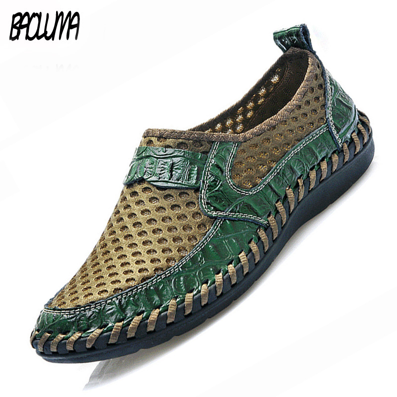 2020 Summer Men's Casual Shoes Breathable Mesh Shoes Italy Loafers Genuine Leather Brand Shoes Man Soft Sneakers 38-50