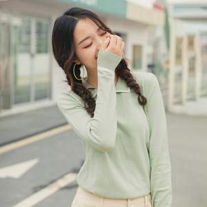 Image 4 - INMAN 2020 Spring New Arrival Literary Pure and Fresh Retro Grilish Preppy Style Contrast Color Loose Pollover Sweater