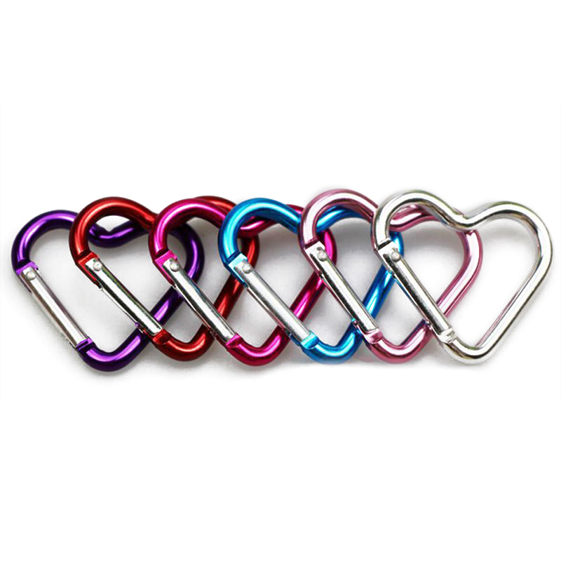 Aluminum Alloy Hanging Buckles Shaped Outdoor Color Safe Heart Buckle Small Heart Type Carabiner Multi-color