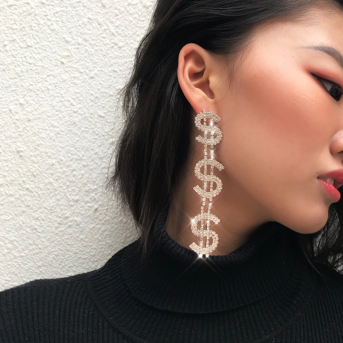 New Exaggerated Dollar Rhinestone Long Earrings For Women Girls Party Wedding Jewelry Shiny Dangle Party Wedding Earring 2020