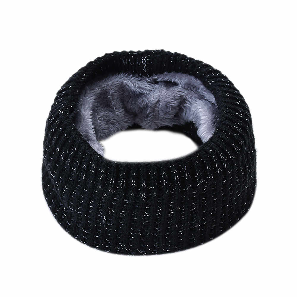 Femmes hommes solide hiver chaud col tricoté châle doux cou écharpe col châle cou foulards Snood Foulard