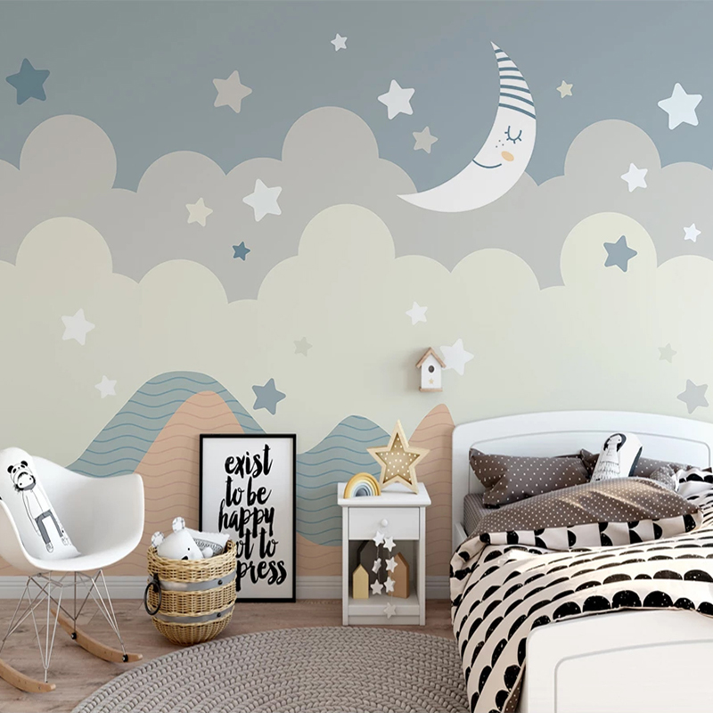 Custom 3D Wall Murals Wallpaper For Kids Room Cartoon Stars Moon Children Bedroom Decoration Wallpaper Mural Papel De Parede 3D
