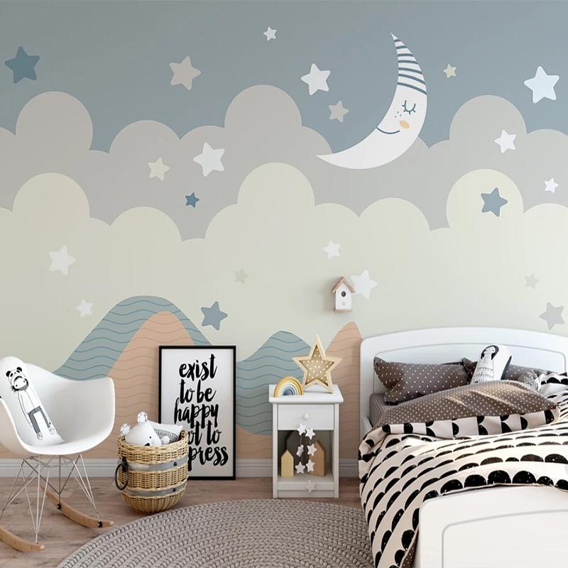 Custom 3D Wall Murals Wallpaper For Kids Room Cartoon Stars Moon Children Bedroom Decoration Wallpaper Mural Papel De Parede 3D