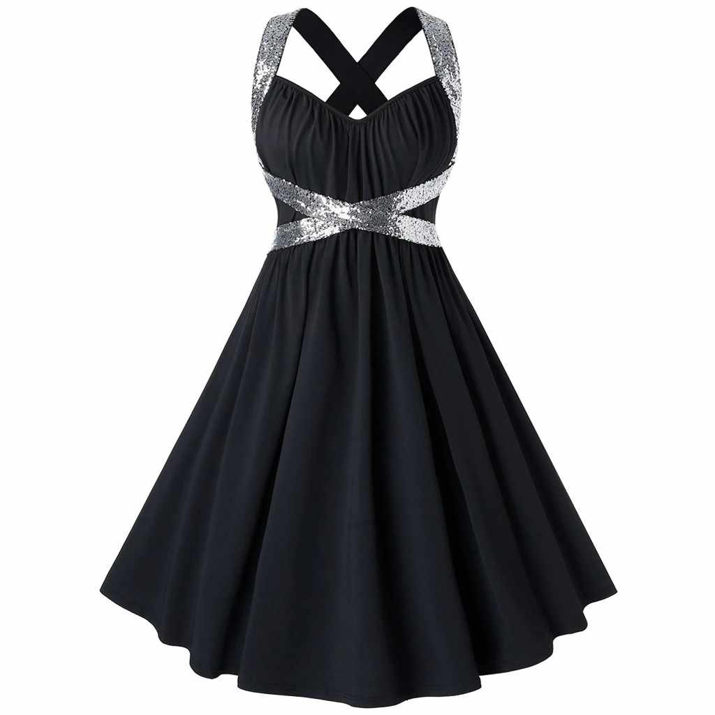 Hot Sale Halter Dress Summer Women 2019 Sleeveless Black Solid Femme Elegant Vintage Dresses Retro Prom Party Dress#J30
