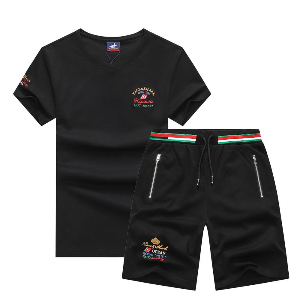European Style Brand Tace & Shark T-shirt Men Shorts Summer 2 Piece Men's Sets Sportswear Tracksuit Summer Sportsuit Sweat Suit