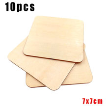 10pcs Wooden Pieces Square Coasters Plain Wood DIY Blank Plaque Card making(China)