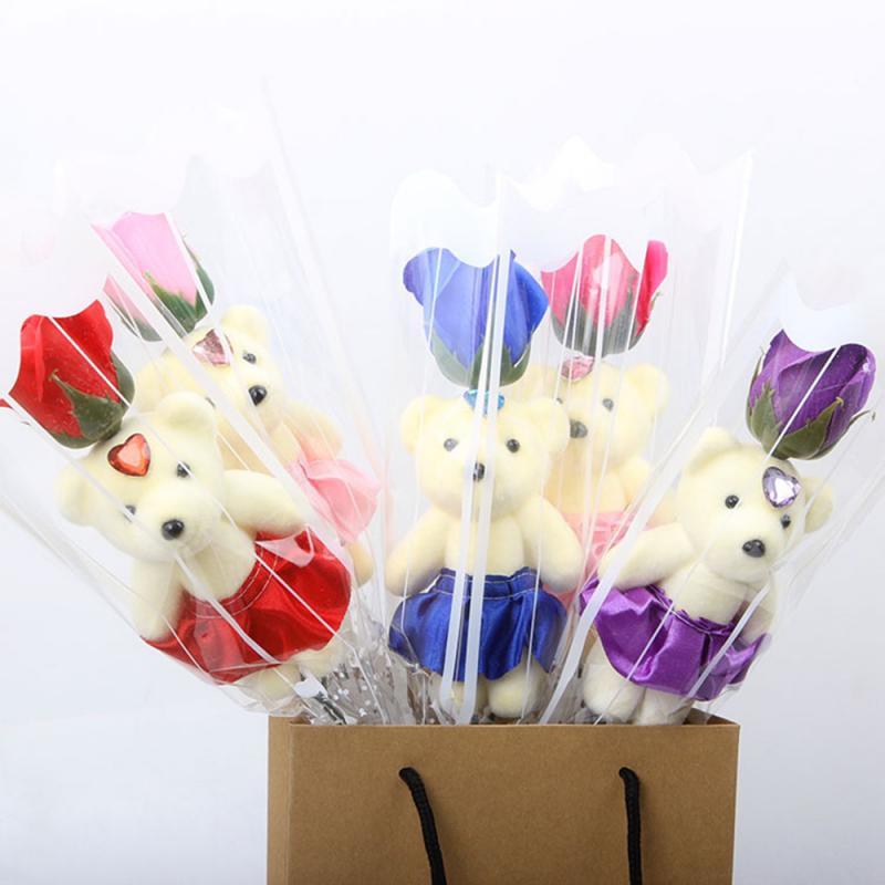 2020 романтическое искусственное мыло розы с милым плюшевым мишкой подарок на день рождения цветочный букет ароматизированный подарок на де...