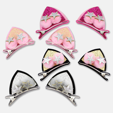 2pcs/set Shiny Sequin Pretty Hair Clips For Girls Rainbow Flower Glitter Cat Ears Bunny Barrette Hair Accessories Headwear Girls mac shiny pretty things lip set