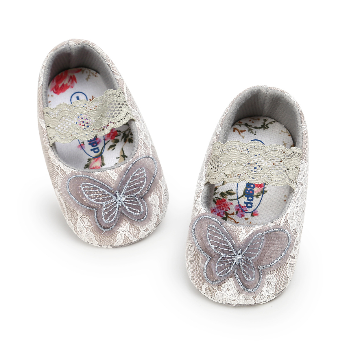 B&G Butterfly Girl Princess Shoes Lace Baby Toddler Shoes Soft Non-slip Walking Shoes Baby First Walkers