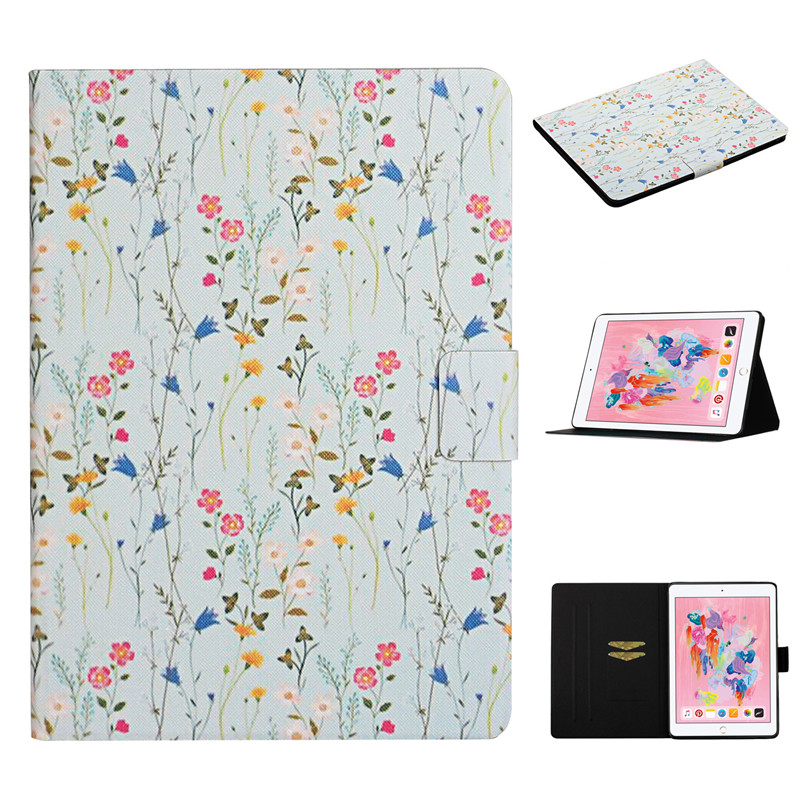 2019 Case Apple 2 for iPad Generation 10 Flower Painted 7th Cover Funda iPad Case for