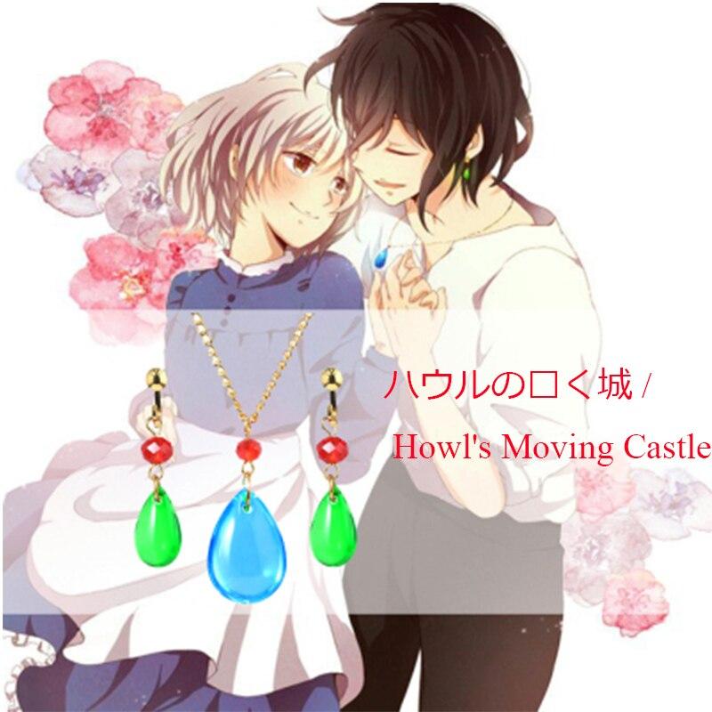 RJ japonais Howl's émouvant château collier Howl Cosplay Costumes collier Oorbellen mode bijoux pour femmes hommes