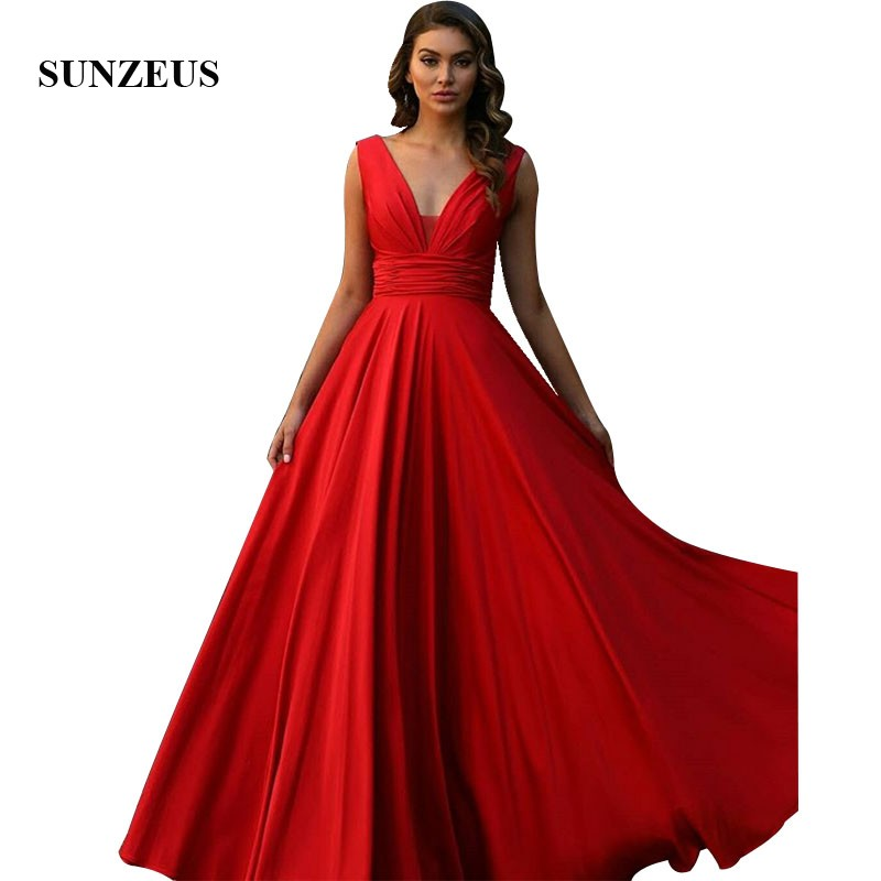 Robes de soirée en mousseline de soie rouge a-ligne col en v élégantes longues robes formelles dame robe de soirée Simple abito lungo cerimonia donna