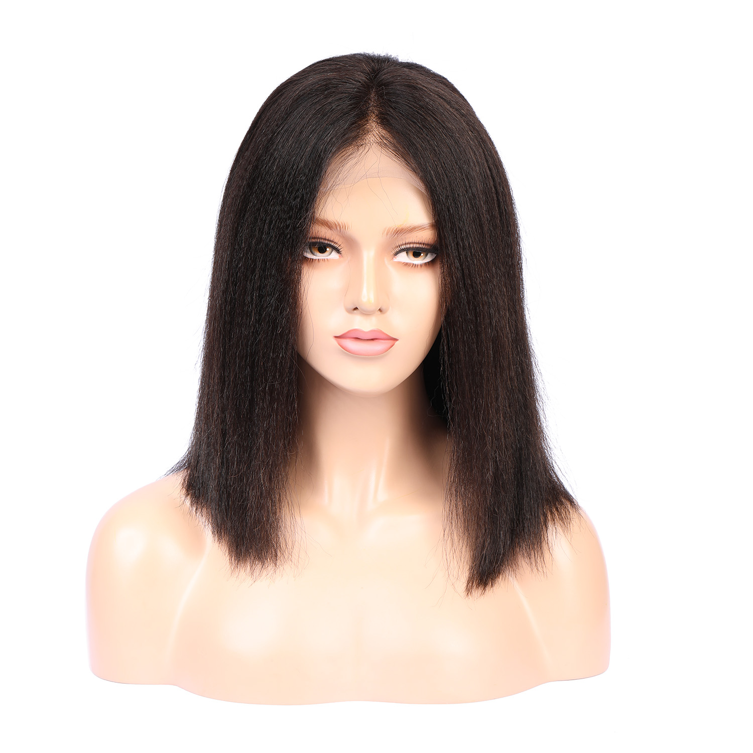 Fake Scalp Wig Light Yaki Straight 13x6 Deep Part Lace Front Human Hair Wigs Pre Plucked With Baby Hair Brazilian Remy Hair