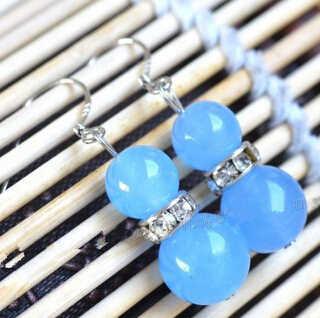 +++ wb001 Pretty Natural Aquamarine Jade Beads 925 Sterling Silver Hook Earrings