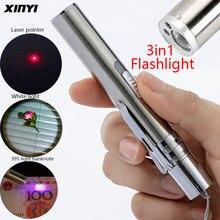 Linterna LED recargable por USB 3 en 1, Mini linterna LED potente, diseño a prueba de agua, luz uv, billetes, puntero láser