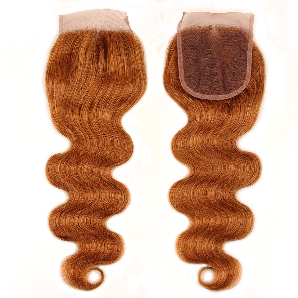 Pinshair Hair Colored 30 Honey Blonde Bundles With Closure Body Wave Peruvian Human Hair 3 Bundles With Closure Non Remy No Shed (13)