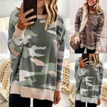 Women T Shirt 2019 Autumn Camouflage Print O-neck T-shirt Slim Fit Long Sleeve Casual Tees Tops Plus Size Camiseta Mujer 12.11(China)