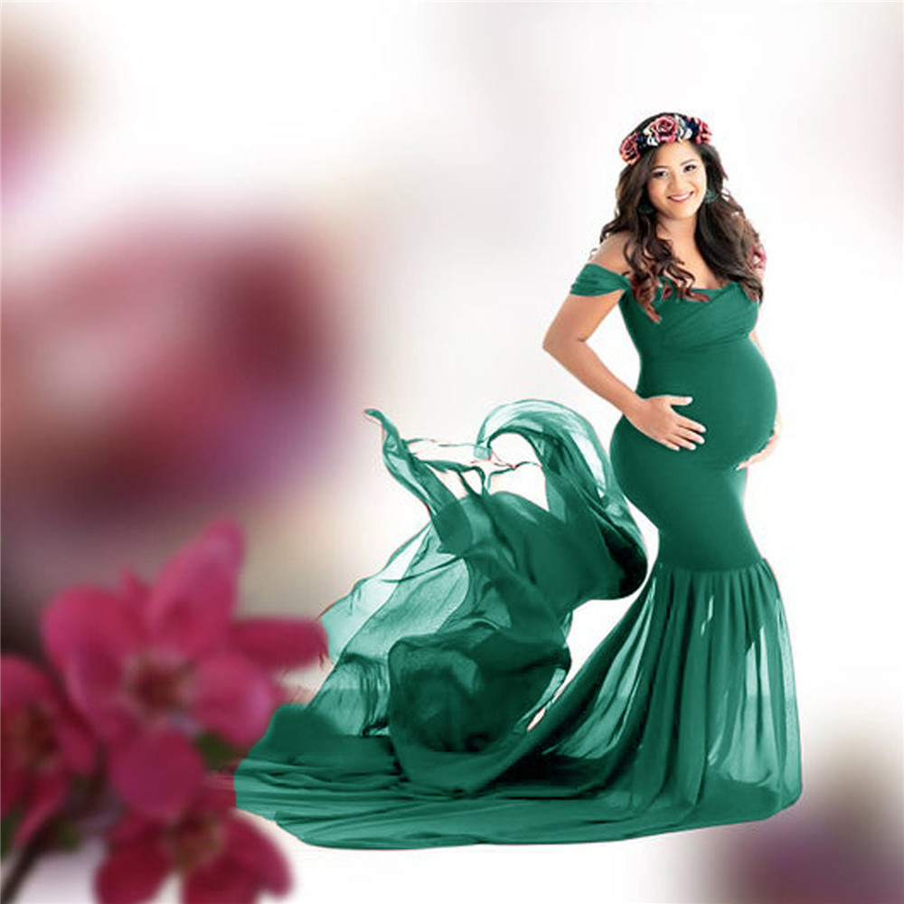 Long Maternity Photography Props Pregnancy Dress For Photo Shooting Off Shoulder Pregnant Dresses For Women Maxi Maternity Gown (4)