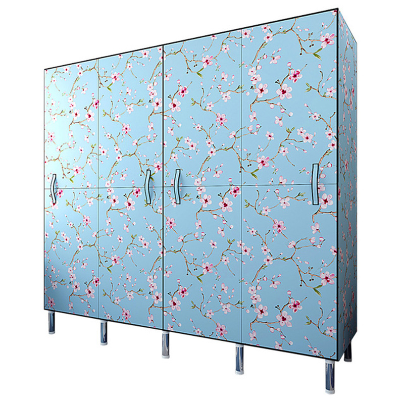 Folding door cloth wardrobe steel tube thickened thick simple wardrobe storage cabinet imitation wood frame cloth wardrobe|Wardrobes| |  - title=