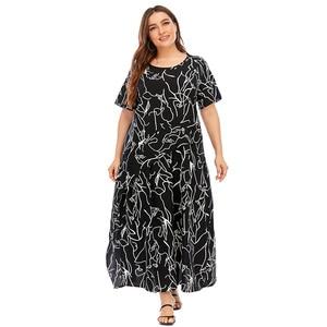 4XL 5XL Plus Size Dress Women Summer Short Sleeve Geometric Print Ruffles Casual Dress Black Loose Oversized Maxi Long Dresses