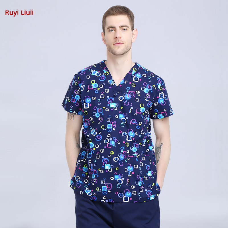 Surgical Suit Printed V Collar Pet Doctor Hand Wash Clothes Brush Hand Clothes Beauty Hospital Uniform-Ruyi Liuli