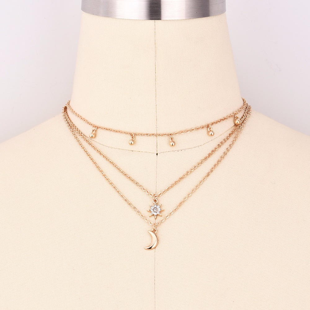 Hot Boho Jewelry Multi Layer Beads Choker Necklaces for Women Sexy Moon Fashion Pendant Vintage Collier choker Necklace Gifts