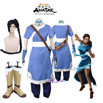 Avatar The Last Airbender Cosplay Katara Cosplay Costume Necklace And Wig 2020 New Halloween Costume For Women Men Custom Made цена 2017