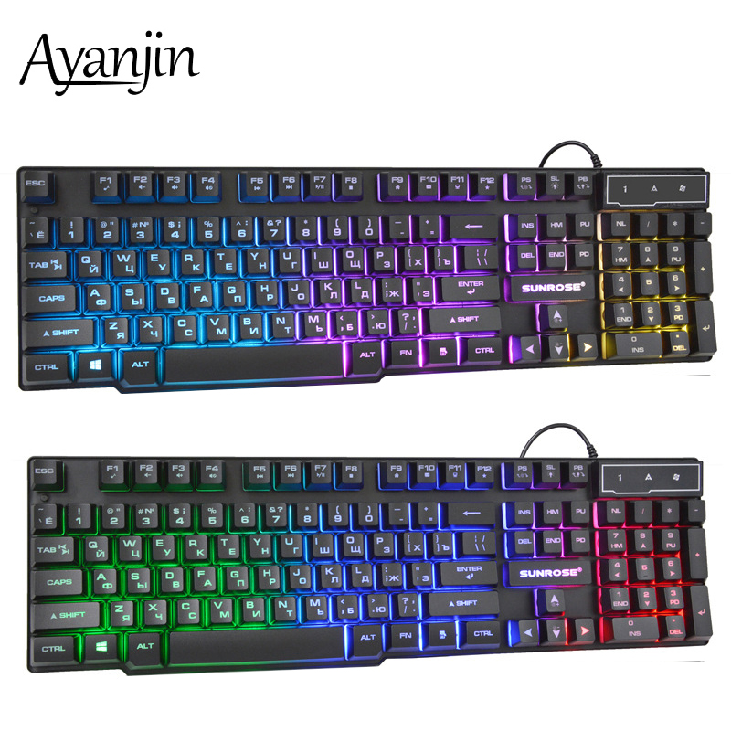 Russian Keyboard Wired Gaming Keyboard 104 Keys Backlit LED Keyboards USB Waterproof Mechanical Feel Gamer Keyboard For Laptop