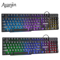 Russian Keyboard Wired Gaming Keyboard 104 Keys Backlit LED Keyboards USB Waterproof Mechanical Feel Gamer Keyboard For Laptop Keyboards     -