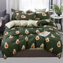 Комплект постельного белья King queen, 5 размеров, пододеяльник, Корейская простыня+ пододеяльник+ наволочка, авокадо, рыба, Комплект постельного белья