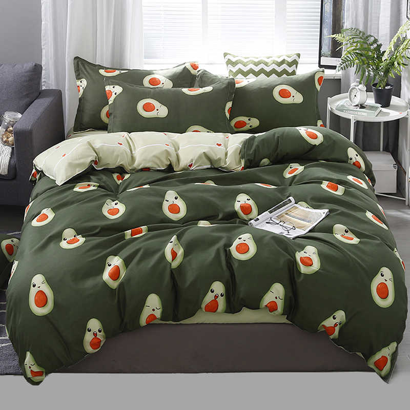 King Queen 5 size bedding set duvet cover set Korean bed sheet + duvet cover + pillowcase avocado fish bed cover bed linen set