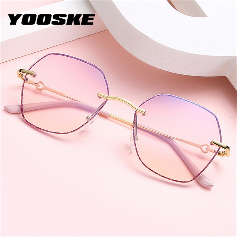 YOOSKE 2020 Anti Blue Light Glasses Women Polygonal Rimless Eyeglasses Frames Clear Pink Crystal Glitter Optical Frame Oversized