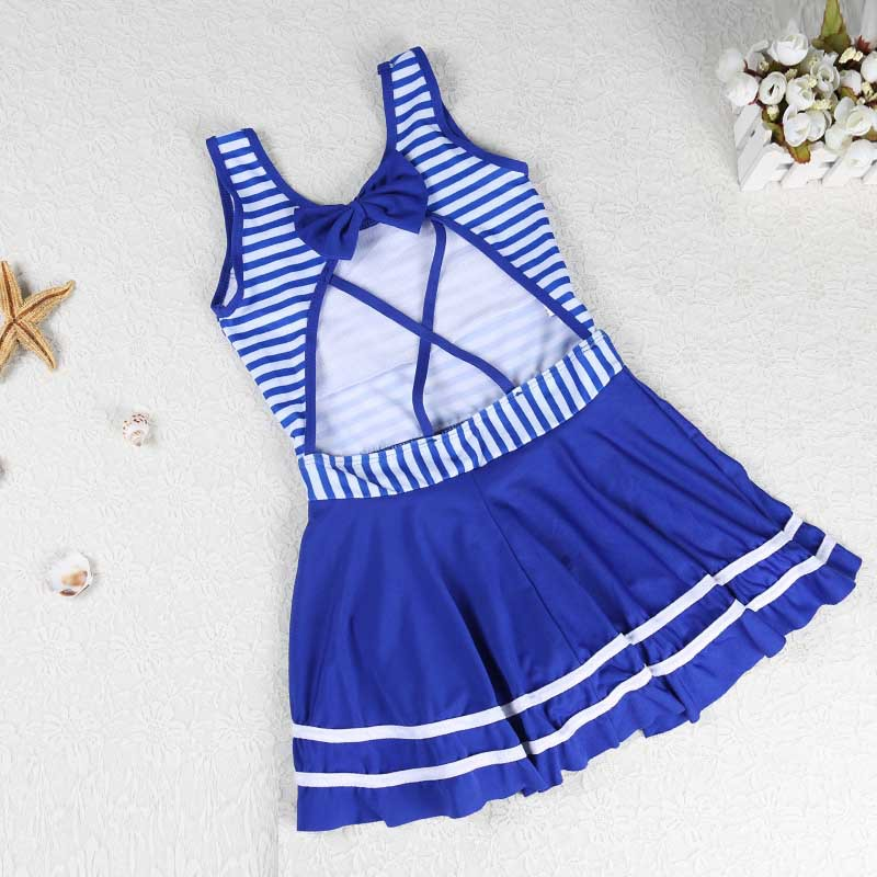 One-piece Swimsuit For Children Women's Korean-style Stripes Cute Princess Big Boy Bathing Suit Comfortable Boxers Swimwear