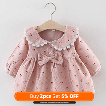 NEW Newborn Infant Baby Girls Kids Autumn Winter Dress Kids Christmas Floral Cherry Dot Cotton Bow Dress Outfits Set Clothes