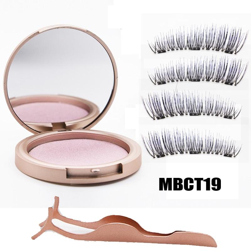 MB 3 Magnetic Eyelashes Natural Long Magneti Mink Eyelashes Set Hand Made 3D False Eye lashes tweezers faux cils magnetique 1
