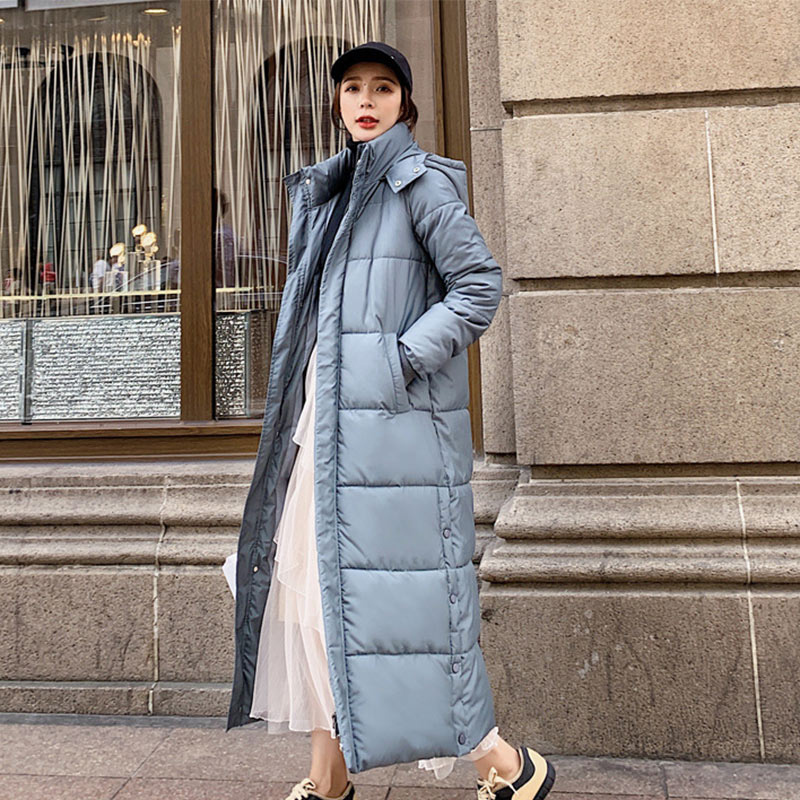 Winter Hooded Women Long   Parkas   Coat Korean Down Cotton Padded Casual Female Jacket Solid Fashion Thick Warm Ladies Outwear