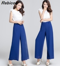 New Womens Wide Leg Pants Summer Loose Thin Brand Women Chiffon Zipper Style Ladies Baggy Black White XS S 3XL 4XL